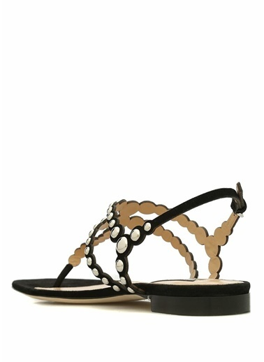 Sergio Rossi %100 Süet Sandalet Siyah